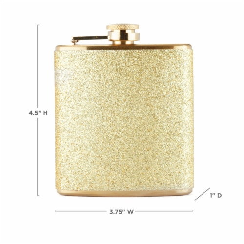 Sparkletini Stainless Steel Gold Flask by Blush® Perspective: top