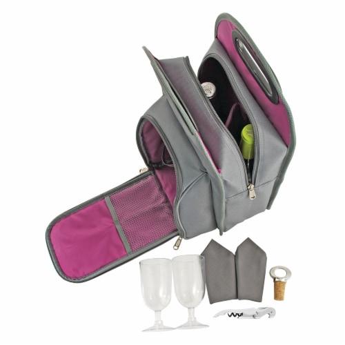Grey Metropolitan 2-Bottle Tote Perspective: top