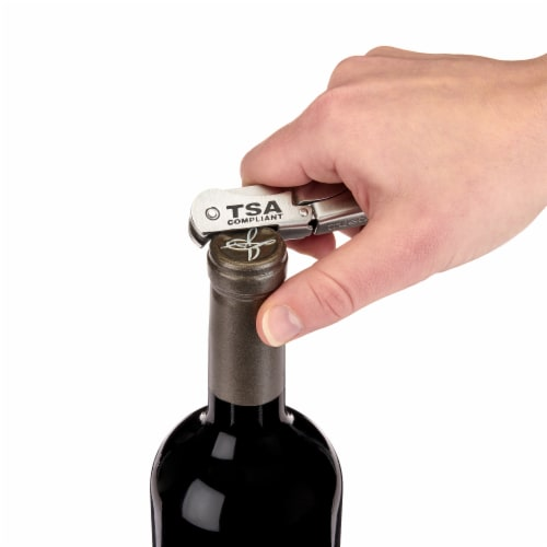 Stainless Steel Double-Hinged TSA-Compliant Corkscrew Perspective: top