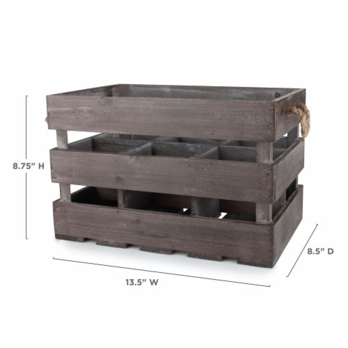 Wooden 6-Bottle Crate by Twine® Perspective: top
