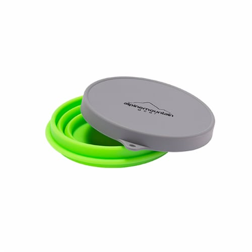 Alpine Mountain Gear Collapsible Container with Lid - Green/Gray Perspective: top