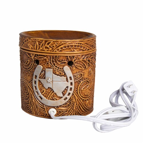 Scentsationals Texas Leather Embossed Full-Size Wax Warmer with 25 W Light Bulb Perspective: top