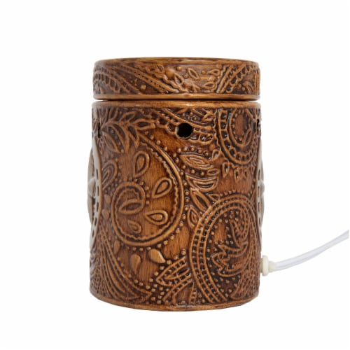 Scentsationals Home Fragrance Western Leather Emobossed Full-Size Wax Warmer with Light Bulb Perspective: top