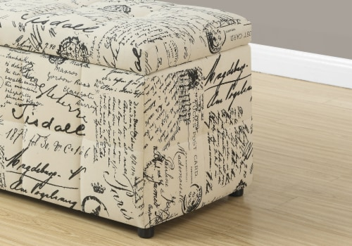 Monarch Vintage French Print Storage Ottoman in Beige Perspective: top