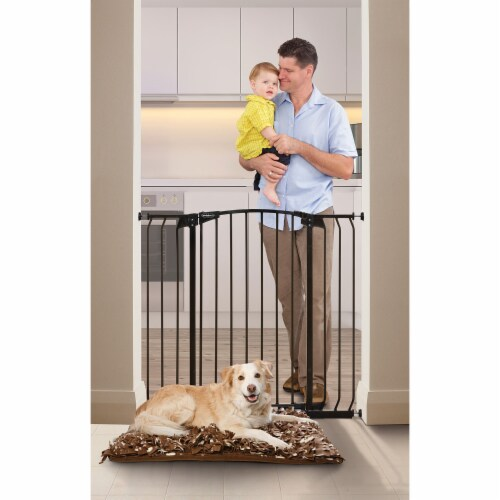 Bindaboo B1124 Zoe 38 to 42.5IN Extra Tall Wide Auto-Close Baby Pet Gate, Black Perspective: top