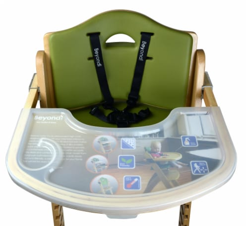 Abiie Beyond Wooden High Chair with Tray. (Natural Wood - Olive Cushion) Perspective: top
