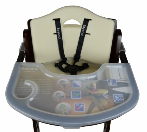 Abiie Beyond Wooden High Chair with Tray. (Mahogany Wood - Cream Cushion) Perspective: top