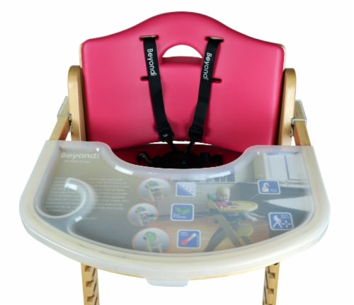 Abiie Beyond Wooden High Chair with Tray. (Natural Wood - Red Cushion) Perspective: top