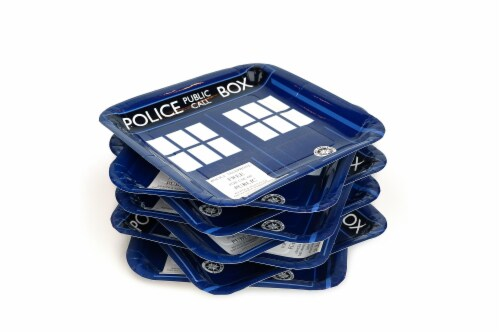 "Doctor Who 9"" TARDIS Square Paper Plates, Set of 8 Perspective: top"