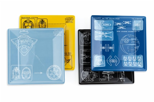 Star Wars Melamine Plate Set - 4 Pieces - Vehicle Schematics Perspective: top