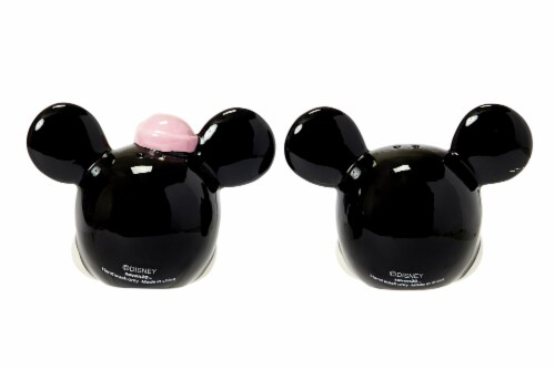 Disney Mickey Mouse & Minnie Mouse Salt & Pepper Shaker Set | Ceramic Shakers Perspective: top