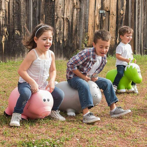 Farm Hoppers Inflatable Bouncing Grey Rabbit Perspective: top