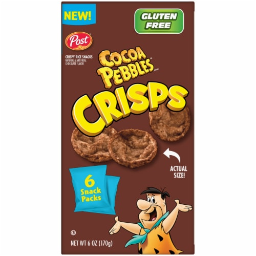 Post Cocoa Pebbles Crisps Baked Bite-Sized Snacks Perspective: top