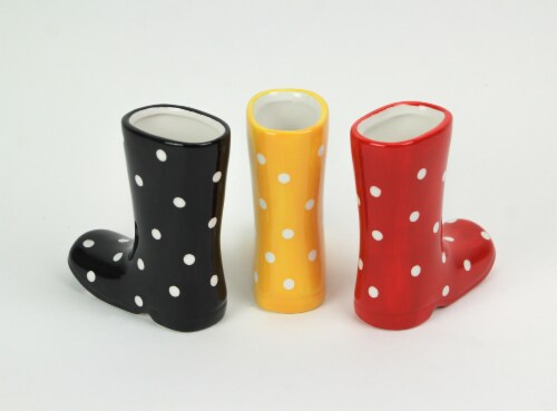 Set of 3 Colorful Polka Dot Ceramic Rain Boot Mini Planters 5 Inches High Perspective: top