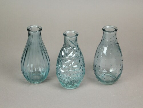 Set of 3 Light Blue Decorative Textured Glass Bottle Bud Vases 5.75 Inches High Perspective: top