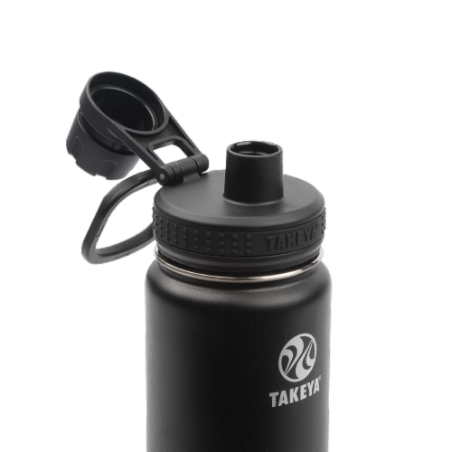 Takeya Actives Insulated Stainless Steel Spout Lid Water Bottle - Onyx Perspective: top