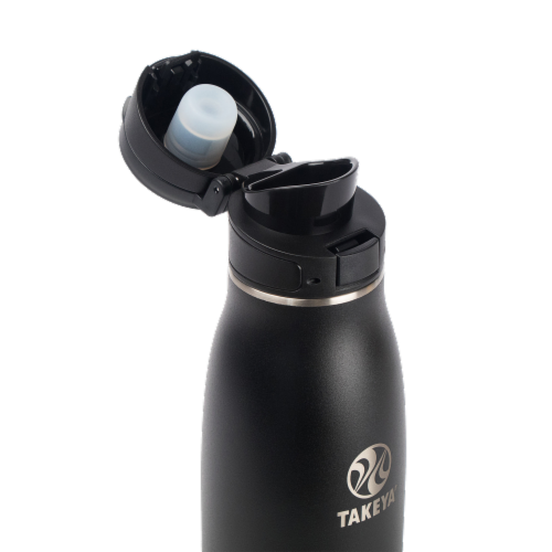 Takeya Traveler Insulated Stainless Steel Bottle - Onyx Perspective: top