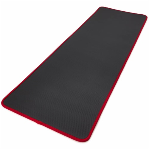 Adidas Training Mat Versatile Cushioned Exercise Yoga Mat with Carry Strap, Red Perspective: top