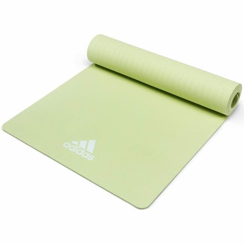 Adidas Universal Exercise Slip Resistant Fitness Yoga Mat, 8mm, Aero Green Perspective: top