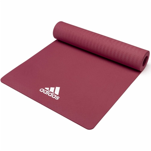 Adidas Universal Exercise Slip Resistant Fitness Yoga Mat, 8mm, Mystery Ruby Perspective: top