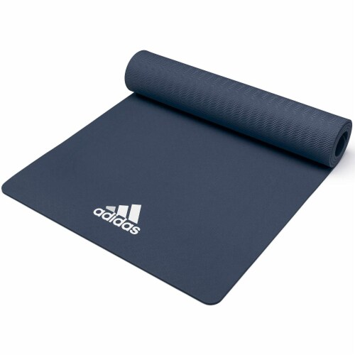 Adidas Universal Exercise Slip Resistant Fitness Yoga Mat, 8mm, Trace Blue Perspective: top