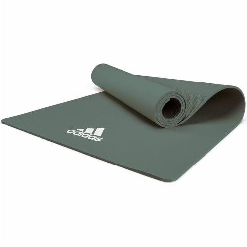 Adidas Universal Exercise Slip Resistant Fitness Yoga Mat, 8mm Thick, Raw Green Perspective: top