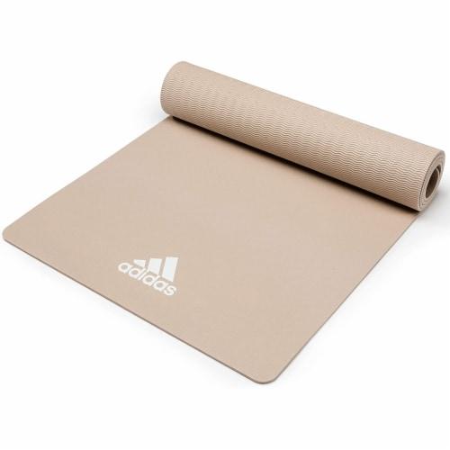 Adidas Universal Exercise Slip Resistant Fitness Yoga Mat, 8mm, Vapor Grey Perspective: top