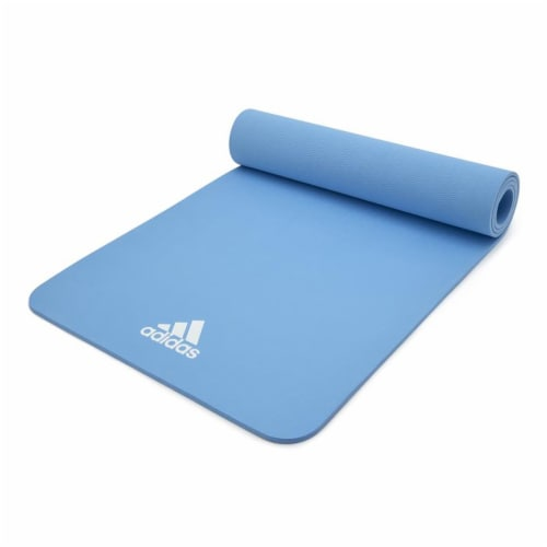 Adidas Universal Exercise Slip Resistant Fitness Yoga Mat, 8mm Thick, Glow Blue Perspective: top