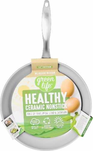 GreenLife Classic Gourmet Collection Healthy Ceramic Non-Stick Frying Pan - Gray Perspective: top
