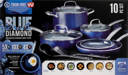 Blue Diamond Cookware Set - Blue Perspective: top