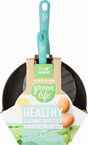 GreenLife Diamond Ceramic Non-Stick Open Frying Pan Set - Turquoise Perspective: top