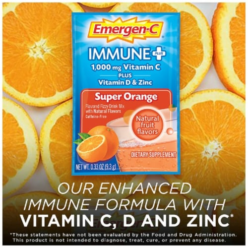 Emergen-C Immune Plus Super Orange System Support Drink 1000mg Mix Packets Perspective: top