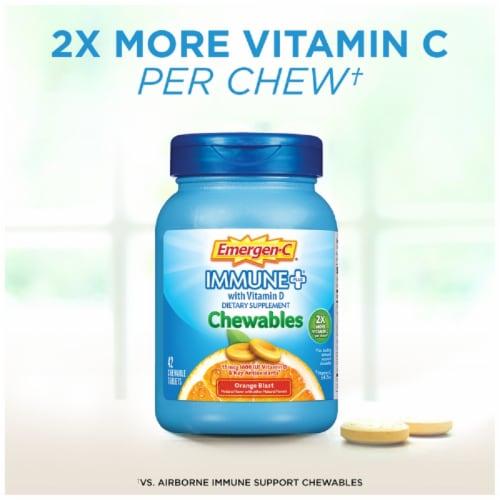 Emergen-C Immune+ Orange Blast Chewables 15mcg 42 Count Perspective: top
