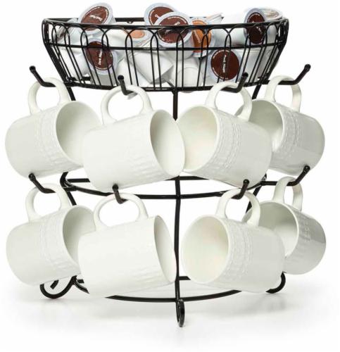 Mikasa Gourmet Basics Mug Tree with Basket - Black Perspective: top