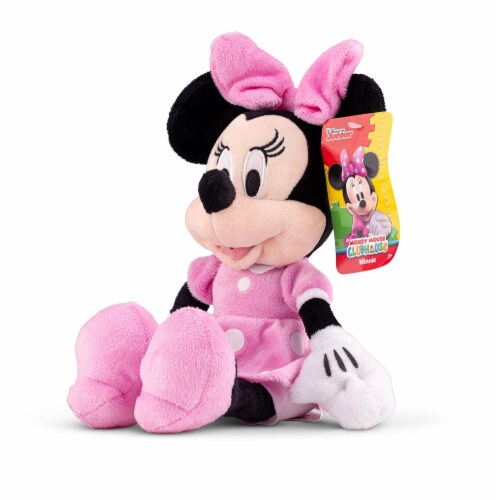Disney Minnie Mouse 11 inch Child Plush Toy Stuffed Character Doll in Pink Dress Perspective: top