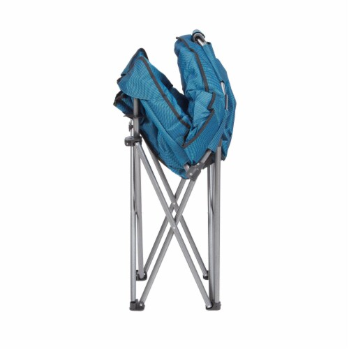 Mac Sports Folding Portable Padded Outdoor Club Camping Chair with Bag, Blue Perspective: top
