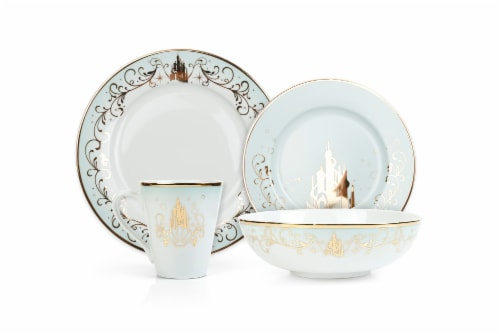 Disney Princess 16-Piece Dinnerware Set | Cinderella, Jasmine, Ariel, Belle Perspective: top