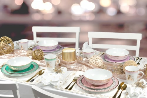 Disney Princess Themed 16 Piece Ceramic Dinnerware Set Collection 2 | Plates, Bowls, Mugs Perspective: top