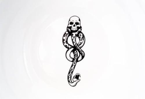 Harry Potter Voldemort Death Eater Ceramic Large Serving Bowl | 10.5-Inch Bowl Perspective: top