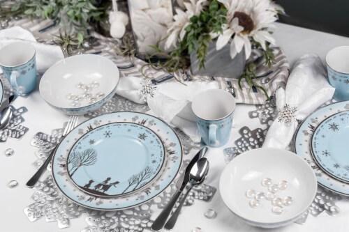 Disney Frozen 2 Anna & Elsa Ceramic Dining Set Collection | 16-Piece Dinner Set Perspective: top