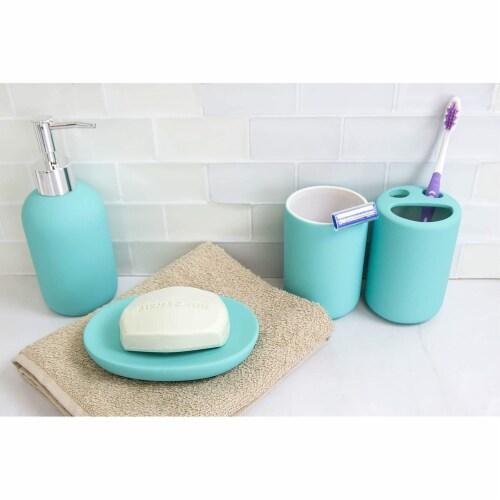 Home Basic 4 Piece Rubberized Ceramic Bath Accessory Set, Blue Perspective: top