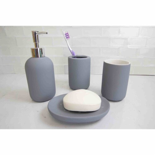 Home Basic 4 Piece Rubberized Ceramic Bath Accessory Set, Grey Perspective: top