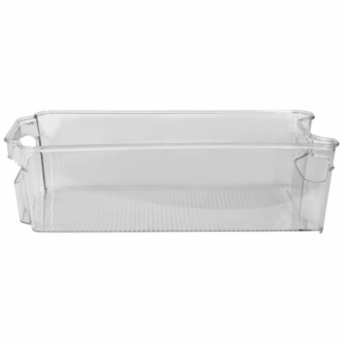 Stackable Medium Plastic Fridge Pantry and Closet Organization Bin with Handles Perspective: top