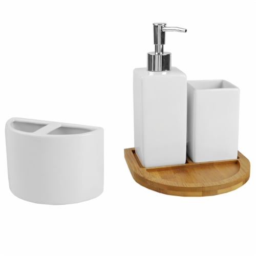 Serene Scandinavian 4 Piece Ceramic Bath Accessory Set with Bamboo Tray, White Perspective: top