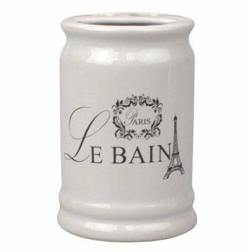Le Bain Paris  Eiffel Tower 4 Piece Ceramic Bath Accessory Set, White Perspective: top
