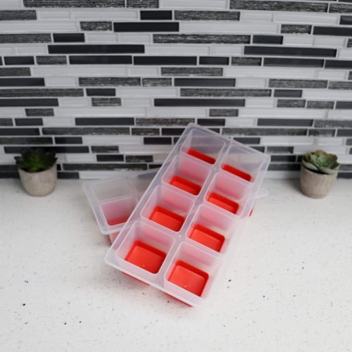 8 Compartment Instant Release Jumbo Plastic Ice Cube Tray, (Pack of 2) Perspective: top