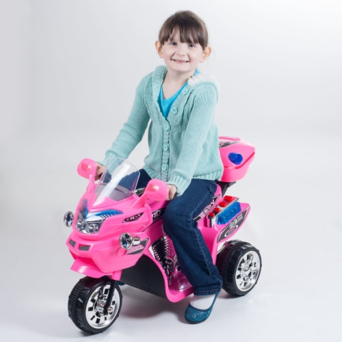 Lil' Rider FX 3 Motorcycle Wheel Battery Powered Bike - Pink Ride on Toy 2-4 Yrs Toddler Perspective: top