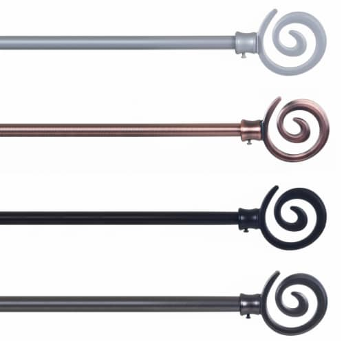 Lavish Home Spiral Curtain Rod 3/4 inch - Silver Perspective: top