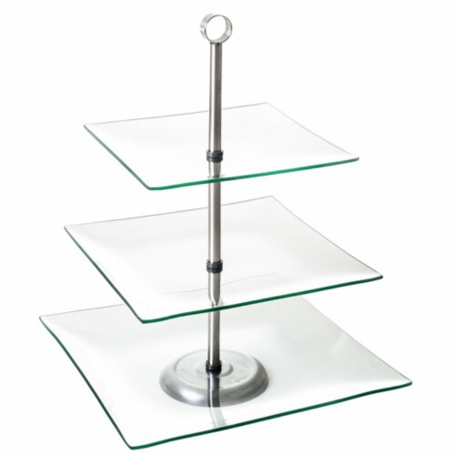 Modern Three Tier Square Dessert and Appetizer Stand Perspective: top