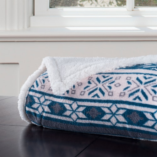 Lavish Home Fleece Sherpa Blanket Throw - Snowflakes Perspective: top